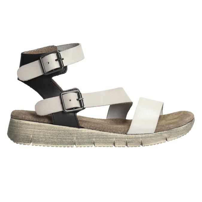 Dámske kožené sandále weinbrenner, šedá, 566-2627 - 15