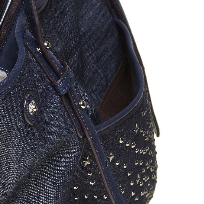 Dámska kabelka s cvočkami bata, modrá, 969-9264 - 17