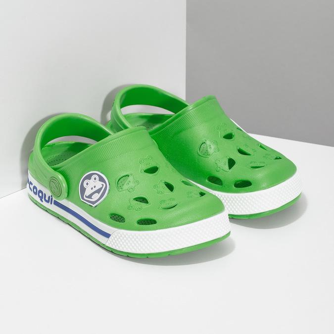 Detské zelené sandále so žabkou coqui, zelená, 272-7603 - 26