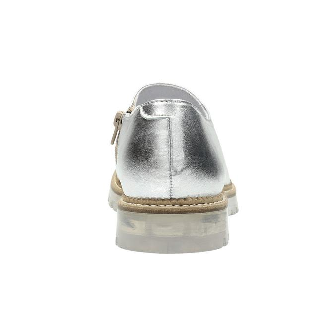 Dámske strieborné kožené poltopánky bata, strieborná, 536-1600 - 18