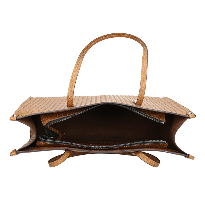 Kabelka s pleteným vzorom bata, hnedá, 961-3540 - 15