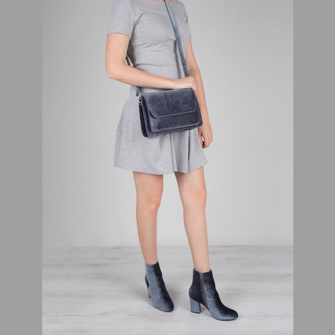 Dámska zamatová kabelka bata, šedá, 969-2662 - 18