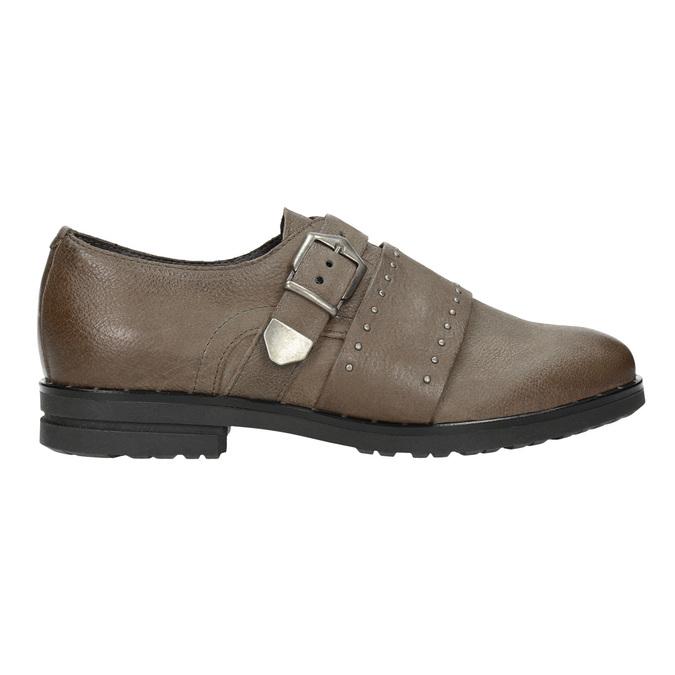 Dámske kožené poltopánky bata, hnedá, 516-2612 - 26