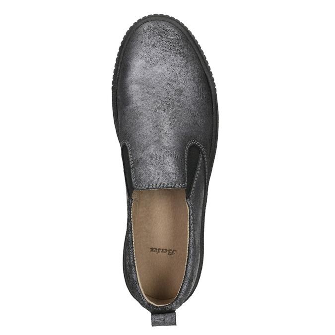 Dámske Slip-on na čiernej flatforme bata, šedá, 516-1613 - 26