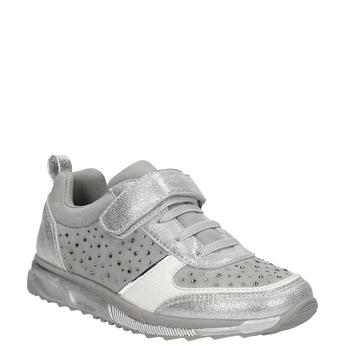 Strieborné dievčenské tenisky s kamienkami mini-b, šedá, 329-2295 - 13