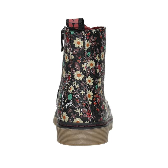 Dievčenská obuv s kvetovaným vzorom bata-girl, čierna, 321-6609 - 17