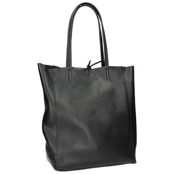 Kožená kabelka v Shopper štýle bata, čierna, 964-6122 - 13