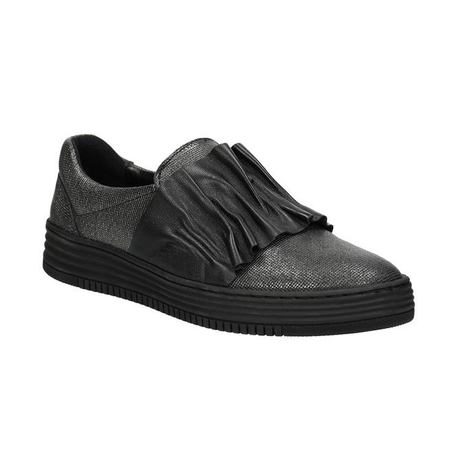 Dámske kožené Slip-on bata, čierna, 516-6614 - 13