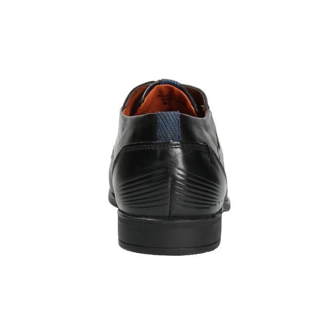 Kožené pánske poltopánky so štruktúrou bugatti, čierna, 824-6009 - 16