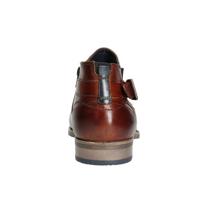 Kožená členková obuv s prackou bugatti, hnedá, 816-3043 - 16