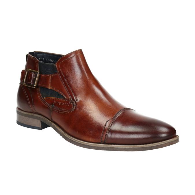 Kožená členková obuv s prackou bugatti, hnedá, 816-3043 - 13