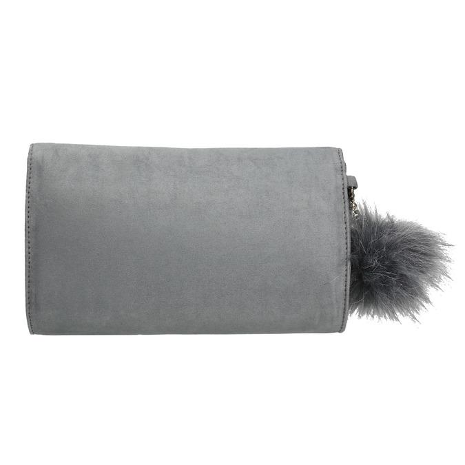 Šedá listová kabelka s pom-pom ozdobou bata, šedá, 969-2666 - 26