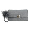 Šedá listová kabelka s pom-pom ozdobou bata, šedá, 969-2666 - 19