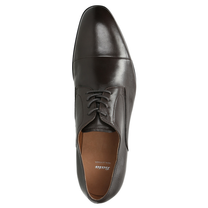 Hnedé kožené Derby poltopánky bata, hnedá, 824-4406 - 26