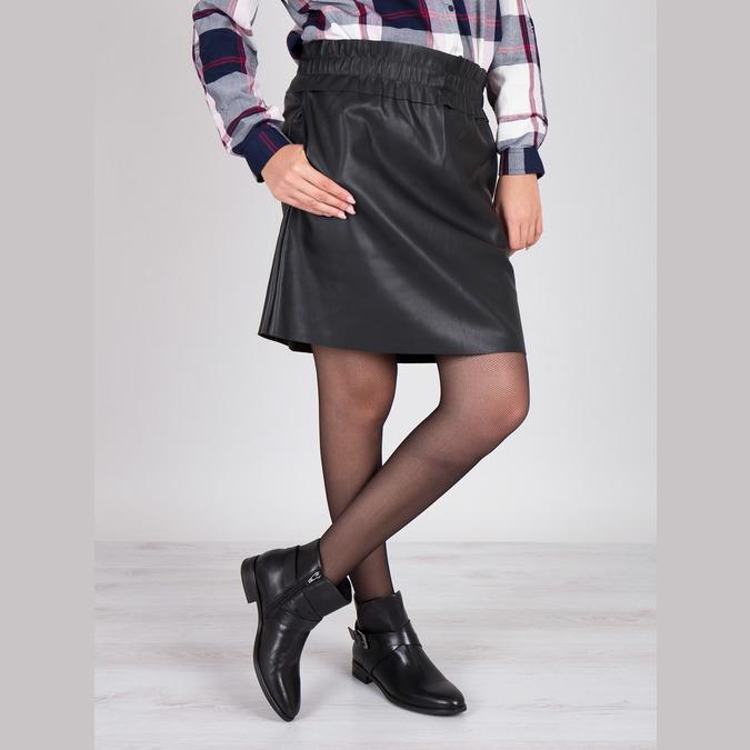 Kožená členková obuv s prackou bata, čierna, 594-6602 - 18
