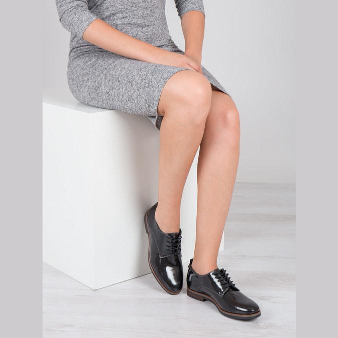 Dámske lakované poltopánky bata, čierna, 528-4600 - 18