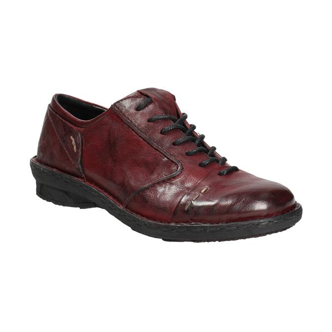 Dámske kožené poltopánky bata, červená, 526-5640 - 13