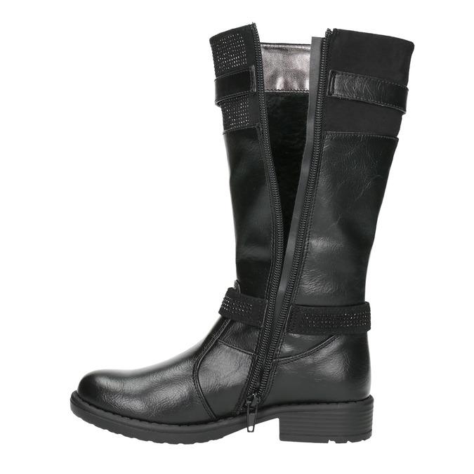 Čierne dievčenské čižmy mini-b, čierna, 391-6655 - 26