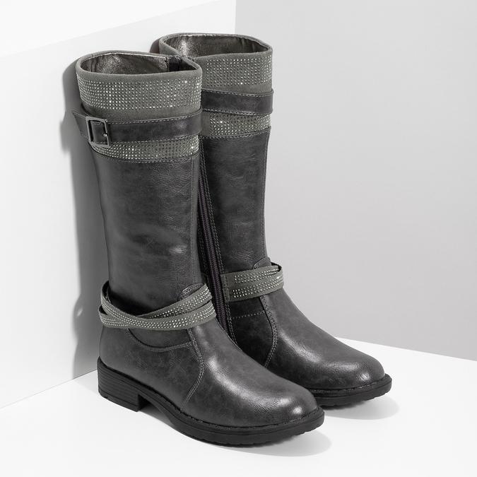 Dievčenské čižmy s kamienkami mini-b, šedá, 391-2655 - 26
