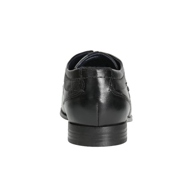 Čierne kožené poltopánky s prešitím bugatti, čierna, 824-6008 - 16