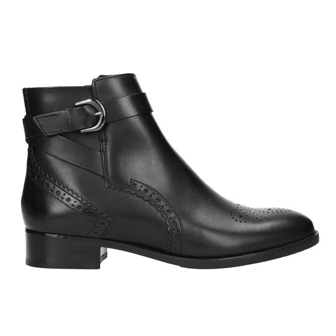Kožená členková obuv so zdobením clarks, čierna, 614-6027 - 26