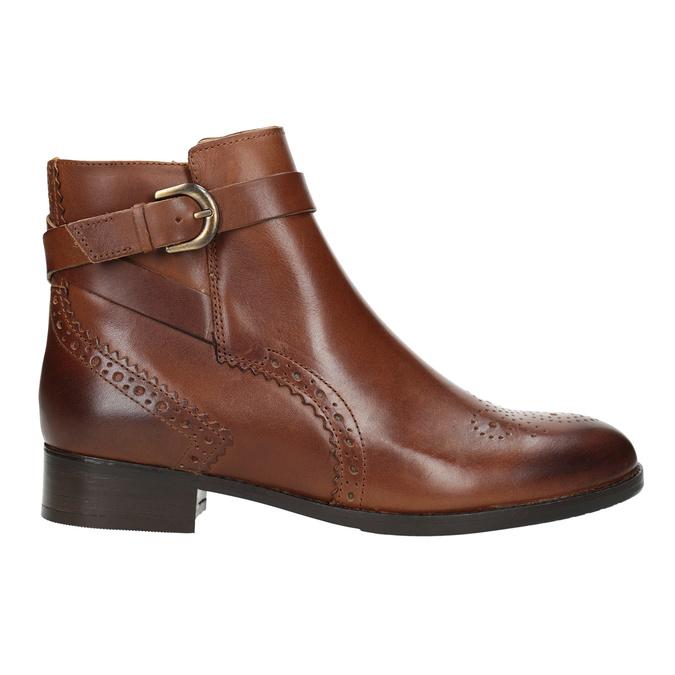 Kožená členková obuv so zdobením clarks, hnedá, 616-3026 - 26