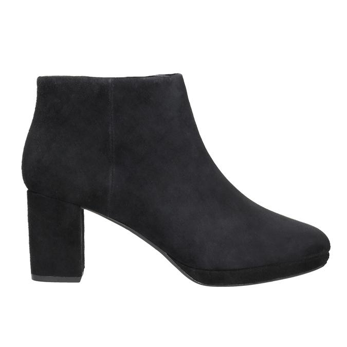Kožená členková obuv na podpätku clarks, čierna, 713-6035 - 26