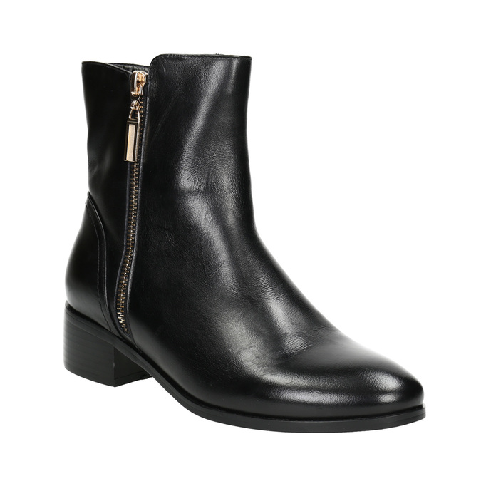 Baťa Kožená členková obuv so zlatými zipsami - Všetky topánky  f2ce13f6a87