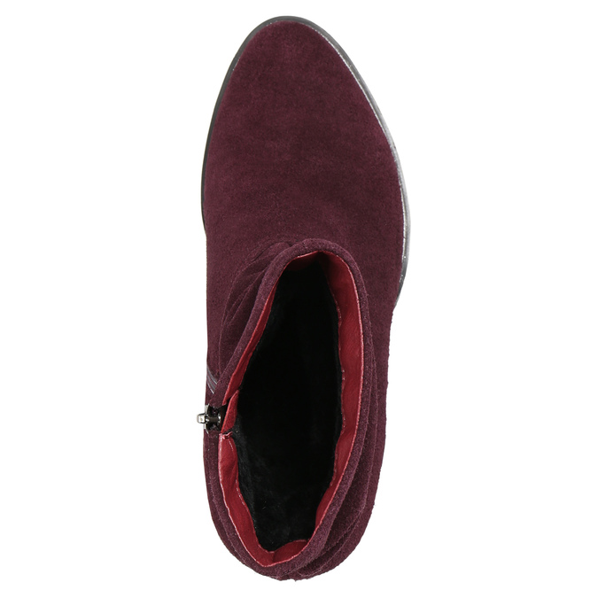 Vínové kožené čižmy bata, červená, 693-5602 - 26