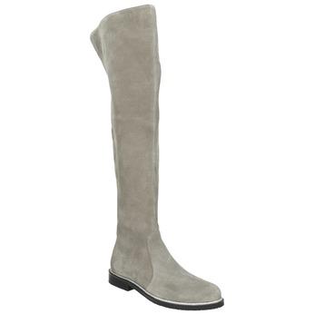 Šedé kožené čižmy nad kolená bata, šedá, 593-2605 - 13