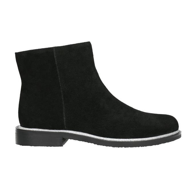 Kožená členková obuv so strieborným lemom bata, čierna, 593-6603 - 15