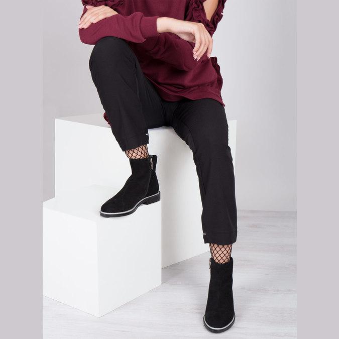 Kožená členková obuv so strieborným lemom bata, čierna, 593-6603 - 14