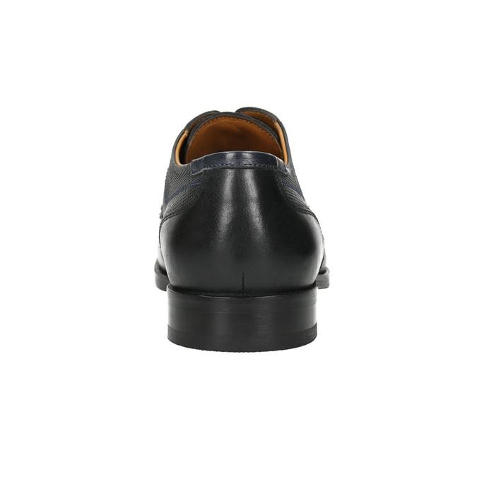 Kožené poltopánky s modrým prešitím bata, čierna, 826-6915 - 17