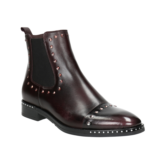 Kožená dámska Chelsea obuv bata, červená, 596-5679 - 13