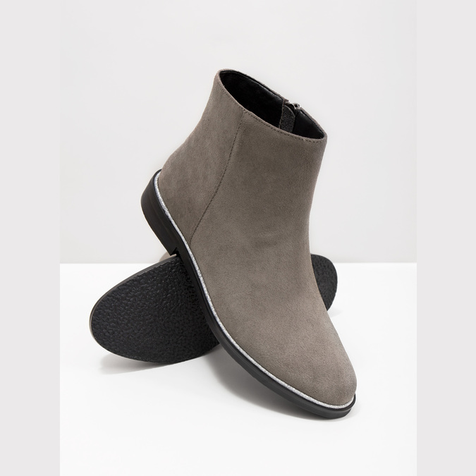 Členková obuv z brúsenej kože bata, šedá, 593-2603 - 18