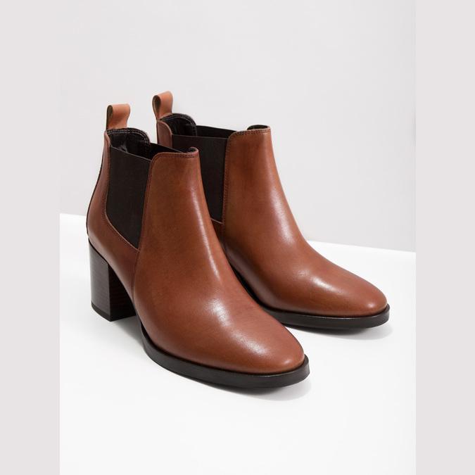 Členková kožená obuv na podpätku bata, hnedá, 694-4641 - 14