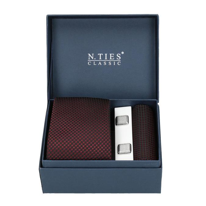 Sada kravaty, vreckovky a manžetových gombíkov n-ties, červená, 999-5293 - 13