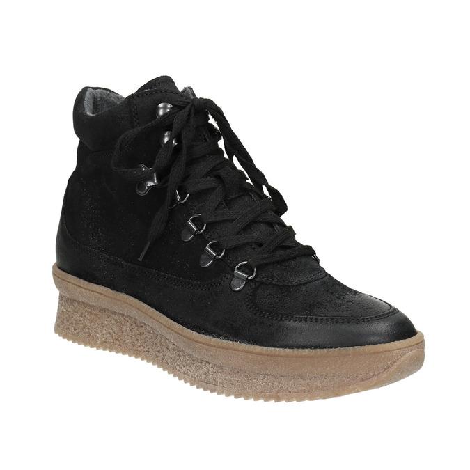 Kožená členková obuv so šnurovaním bata, čierna, 596-6673 - 13