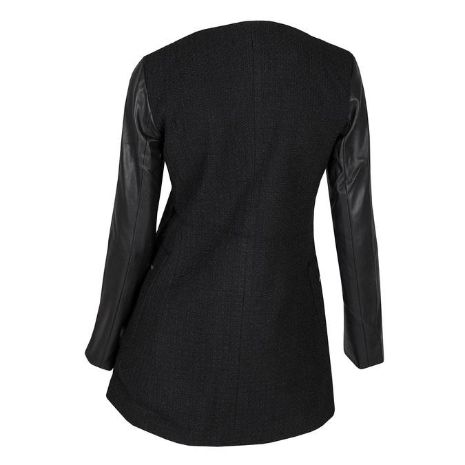 Dámsky kabát s koženkovými rukávmi bata, čierna, 979-6153 - 26