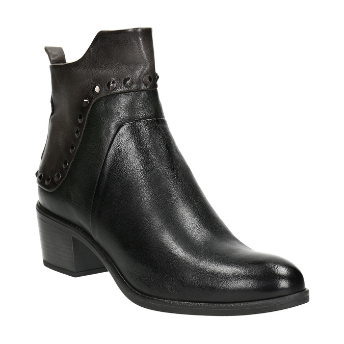Členková kožená obuv s kovovými cvokmi bata, čierna, 696-6652 - 13