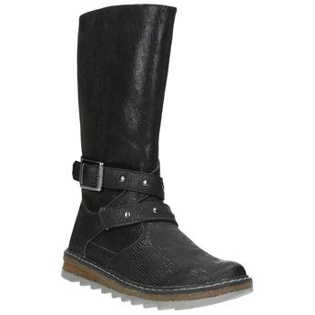 Dievčenské čižmy s masívnou podrážkou mini-b, čierna, 391-6657 - 13