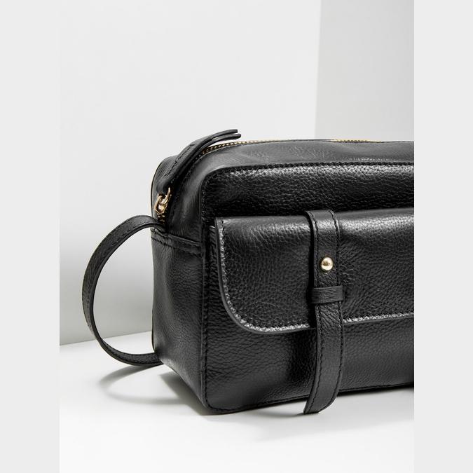 Kožená čierna Crossbody bata, čierna, 964-6282 - 14