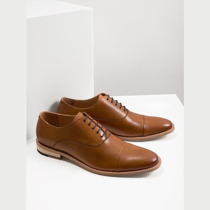 Celokožené hnedé Oxford poltopánky bata, hnedá, 826-3414 - 18