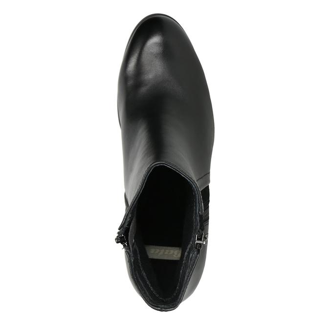 Kožené členkové topánky na podpätku bata, čierna, 794-6642 - 26