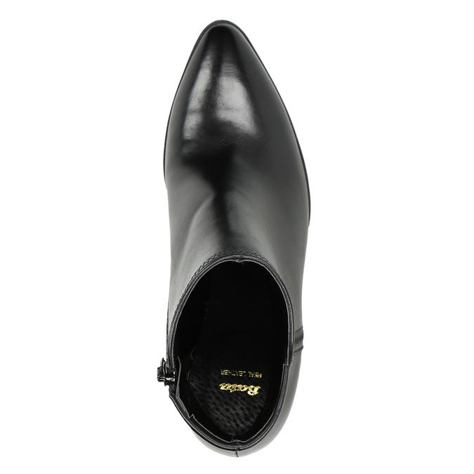 Dámske kožené členkové čižmy bata, čierna, 794-6650 - 26