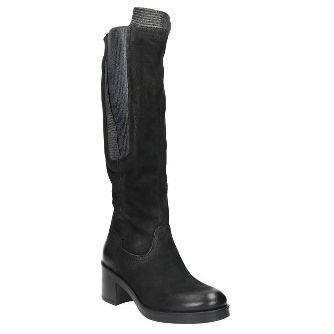 Kožené čižmy na stabilnom podpätku bata, čierna, 696-6647 - 13