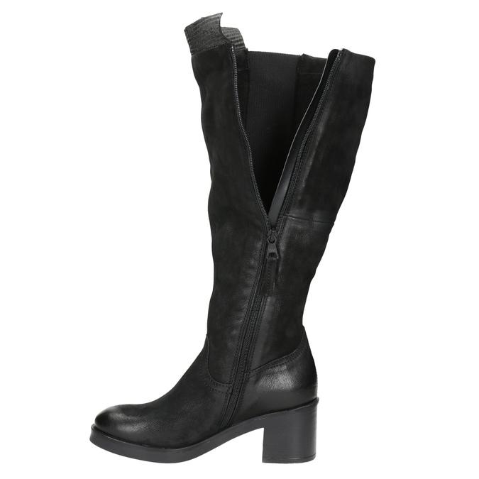 Kožené čižmy na stabilnom podpätku bata, čierna, 696-6647 - 15