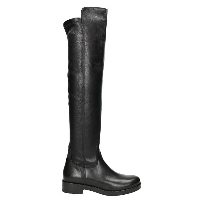 Kožené dámske čižmy nad kolená bata, čierna, 596-6682 - 26