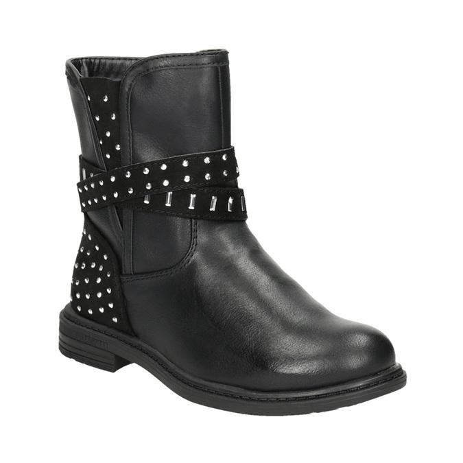 Dievčenské čižmy s kamienkami mini-b, čierna, 291-6395 - 13