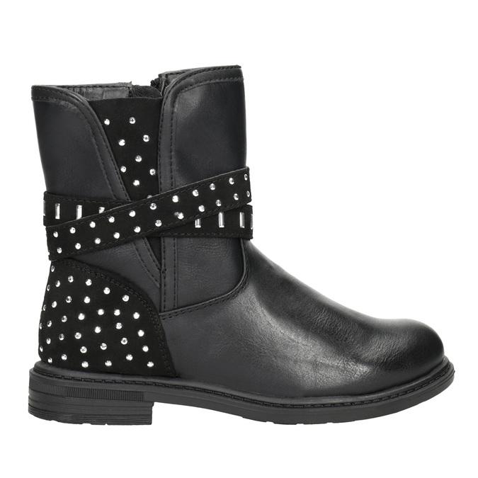 Dievčenské čižmy s kamienkami mini-b, čierna, 291-6395 - 26